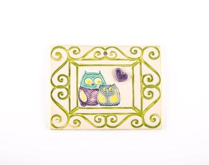 תמונה מקרמיקה | תמונת ינשופים מקרמיקה | תמונה לחדר ילדים | ינשופים |ינשופים מקרמיקה