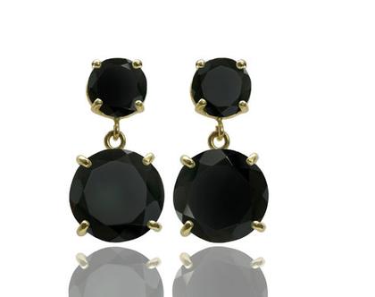 עגילי אוניקס - עגילים שחורים - עגילי גולדפילד - עגילי זהב - עגילי אבן חן