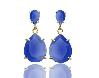 עגילי אוניקס כחולים - עגילים טיפה יוקרתיים - עגילים מזהב - עגילי אבן חן - עגילי וינט'ג