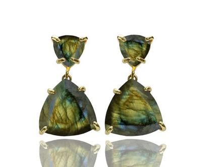 עגילי לברדורייט מגולדפילד - עגילי אבן חן מיוחדים - עגילים מתנה - עגילים לאירוע
