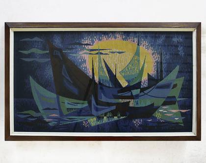 גובלן ענק ומושלם, תמונת ים, תמונת סירות, אמנות לחדר ילדים