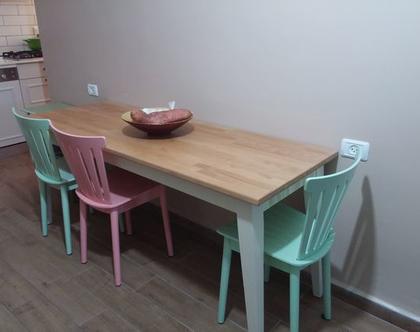 שולחן לפינת אוכל/שולחן למטבח/שולחן מעץ בוק/שולחן בוצ'ר בוק/שולחן דגם מעיין.