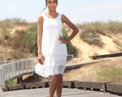 שמלת בת מצווה לבנה שמלת שכבות תחרה שמלת שיפון לארוע שמלה לבת מצווה שמלת קומות לבנה