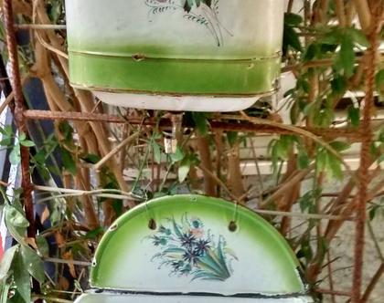 אגן רחצה עתיק/אגן רחצה אמייל פרחוני ירוק