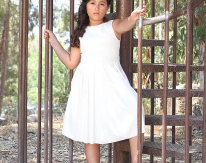 שמלת כפלים לבנה לבת מצווה שמלת בת מצווה עם חגורה מנצנצת שמלה לבנה לארוע שמלת כפלים עם טול שמלות בת מצווה nomiky שמלה קצרה לבת מצווה