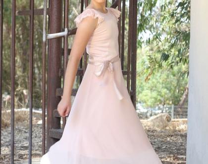 שמלת בת מצווה ארוכה גב חשוף שמלה לארוע עם שרוולי תחרה שמלת שיפון ארוכה שמלת בת מצווה עם חגורה שמלות nomiky שמלה לשושבינה