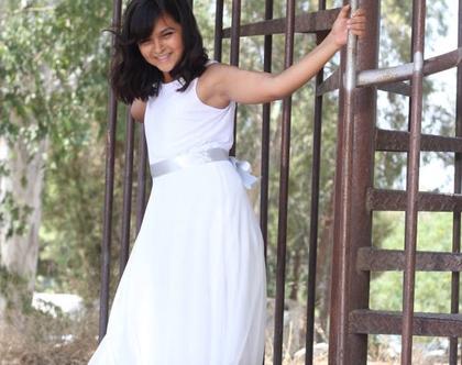 שמלת בת מצווה שכבות שיפון שמלה לבנה לאירוע שמלה לשושבינה שמלת בת מצווה גב חשוף שמלת שכבות ארוכה שמלות nomiky