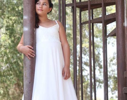 שמלת בת מצווה לבנה שמלה מנצנצת לאירוע שמלה לבת מצווה כתפיות ספגטי שמלת שכבות שיפון לארוע שמלה לשושבינה