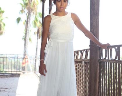 שמלת תחרה לבת מצווה שמלת בת מצווה ארוכה גב חשוך עם קשירה שמלה לבנה לארוע שמלה לשושבינה שמלת שכבות לארוע