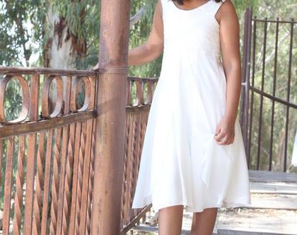 שמלת בת מצווה שכבות שיפון שמלת שושבינה לבנה שמלה לבת מצווה בשילוב תחרה שמלה לארוע שמלת תחרה