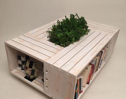 שולחן סלון מעוצב מארגזים- דגם ״רינה ״ צבע קרם ווש
