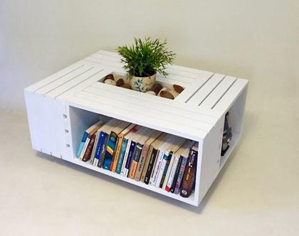 שולחן סלון מעוצב מארגזים- דגם ״רינה״ צבע לבן מיושן