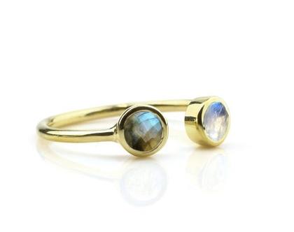 טבעת מון סטון ולברדורייט פתוחה - טבעת אבני חן - טבעת זהב - טבעת גולדפילד
