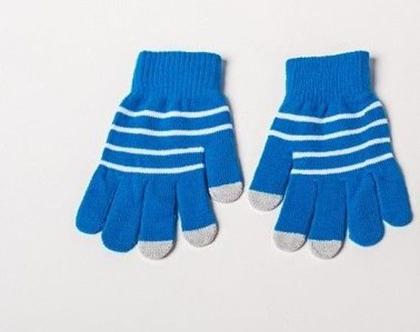 כפפות לסמרטפון כחולות עם פסים (91226)