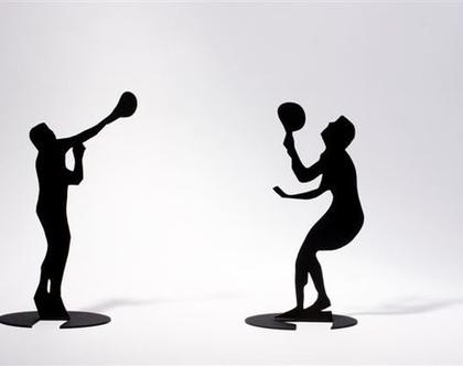 פסלוני שחקני מטקות ישראלים - קישוט למדף