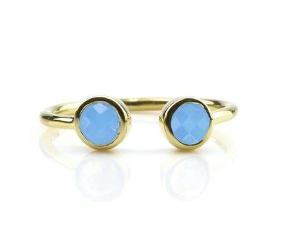 טבעת זהב בשיבוץ אבני חן - טבעת כחולה - טבעת גולדפילד