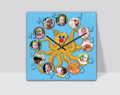 שעון מעוצב לילדים | שעון קיר |שעון מודפס על קנבס | שעון בעיצוב אישי