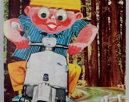 גלויה עם עיניים זזות משנות ה-60 - רוכב על וספה