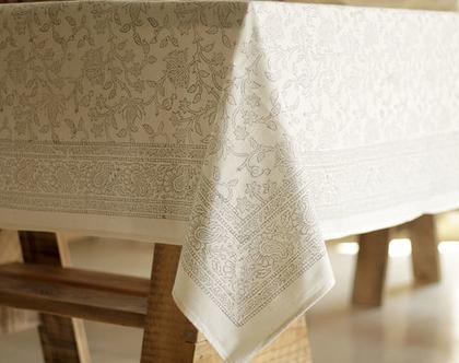 מפת שולחן לבנה מעוצבת בעבודת יד-100% כותנה