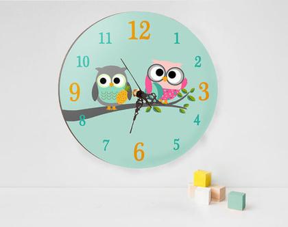 שעון קיר עגול דגם ינשופים, שעון קיר מאויר לחדר ילדים, שעון קיר מעוצב מעץ