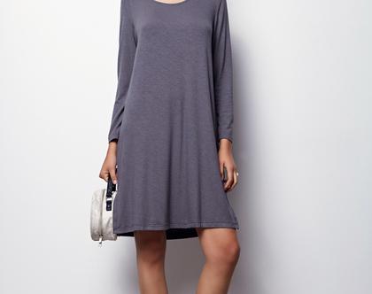 שמלה אפורה אוברסייז- שמלה אפורה שרוול ארוך, שמלה מבד טריקו - אוליביה