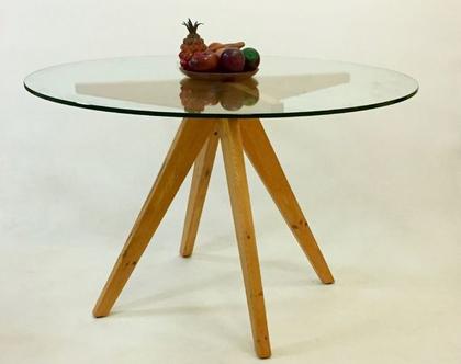 שולחן זכוכית עגול דגם ״צורי״ /שולחן עגול, שולחן זכוכית, שולחן רטרו.