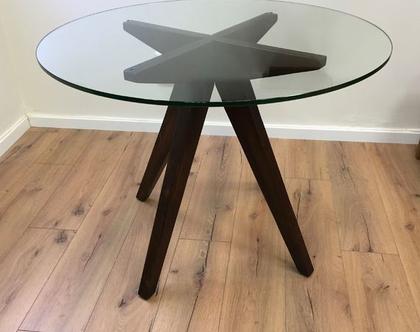 שולחן זכוכית עגול דגם ״צורי״ /שולחן עגול, שולכן זכוכית, שולחן רטרו.