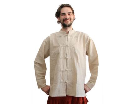 חולצת גברים בסגנון סיני - קרם