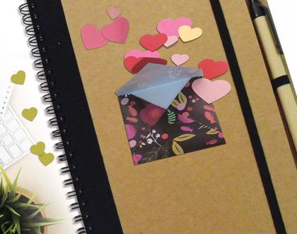 מחברת מעטפה פרחונית עם כרטיס ברכה מעוצבים לשנה חדשה   שנה טובה התחלה חדשה   מחברת ממותגת לשנה חדשה   מחברת רשימות   רעיון למתנה