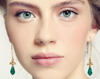 עגילים ירוקים ארוכים, עגילים עדינים, עגילי טיפה, מתנה לאישה