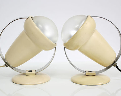 זוג מנורות לילה וינטאג׳ גדולות ממתכת
