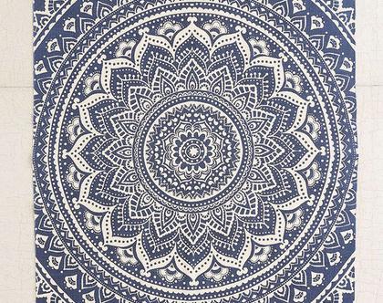 שטיח מנדלות כחול, שטיח כותנה כחול, שטיח כחול כהה