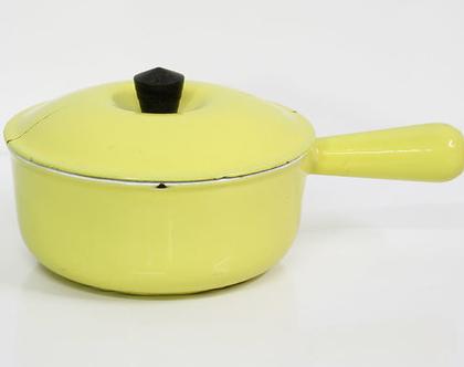 סיר אמייל וינטאג׳ צרפתי צהוב Le Creuset