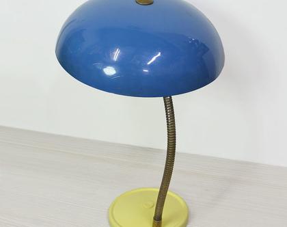 מנורת שולחן וינטאג׳ גדולה בכחול וצהוב