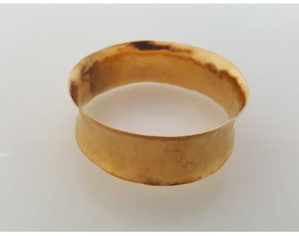 צמיד מרוקע קעור בציפוי זהב