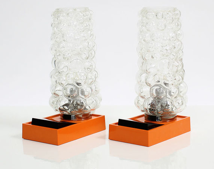 זוג מנורות לילה וינטאג׳ כתומות