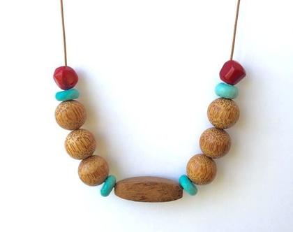 שרשרת בוהו - עץ טורקיז וקורל/ שרשרת ארוכה/שרשרת אבני חן ועץ