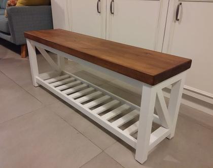 ספסל לאמבטיה/ספסל לחדר רחצה/ספסל לחדר ארונות/ספסל מעץ אורן/דגם יונית