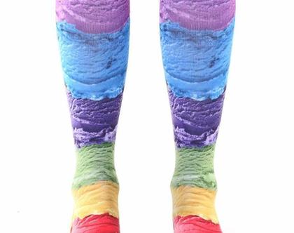 גרביים מדליקות בעיצוב גלידה - גובה ברך
