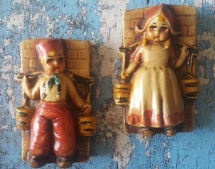 זוג הולנדיים - קישוט קיר מתוק - זוגיות על הקיר- קישוט קיר וינטג'- וינטאג' לקיר -