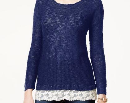 HIPPIE ROSE | סוודר כחול עם שיפון/תחרה