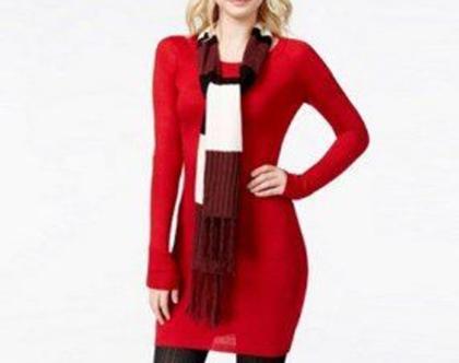 ENERGIE | שמלת סריג אדומה וצעיף