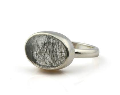 טבעת רוטיל קווארץ שחורה - טבעת כסף 925 - טבעת מיוחדת בהתאמה אישית