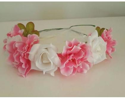 זר לראש   משי   זר פרחים   עיטור ראש   כתר   חגיגה   יום הולדת   קישוט   ורוד לבן   מלאכותי