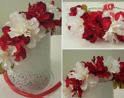 זר לראש   משי   זר פרחים   עיטור ראש   כתר   חגיגה   יום הולדת   קישוט   אדום לבן   מלאכותי