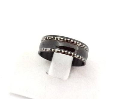 טבעת לגבר מ STAINLESS STEEL - מוטיב מפתח יווני