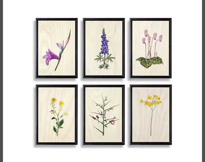 פרחים על עץ | תמונות לבית | תמונות לסלון | עיצוב הבית | תמונות על עץ | ציורים בוטניים | ציורי טבע