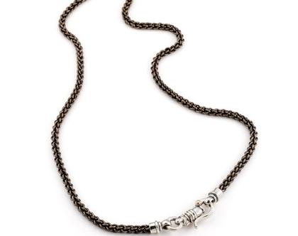שרשרת חוליות טיטניום סוגר מכסף בתוספת זהב לגבר ולאישה ,סוגר השרשרת מעוצב ומיוחד , שרשרת חוליות עבודת יד ללא הלחמה שרשרשת חוליות טיטניום