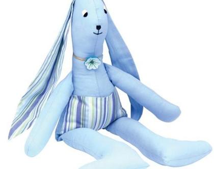 בובת ארנבון מבד, בובת שפן מבד, בובה רכה לתינוק בעבודת יד, חפץ מעבר, מתנה ללידה, מתנה ליולדת