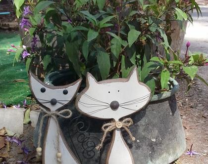 זוג חתולים מעץ / חתולים לנוי / חתולים למדף